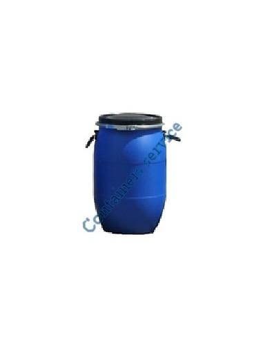 Fût 60 litres plastique bleu ouverture totale UN