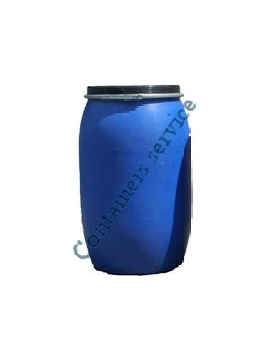 Fût 220 litres plastique bleu ouverture totale UN